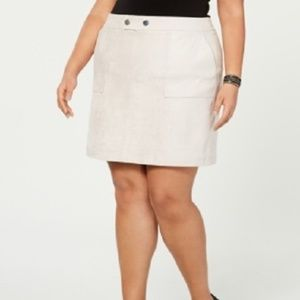 New INC Faux Suede Mid Rise Skirt